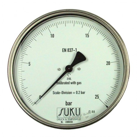 Type 8781 Precision test gauge NS160, connection back, all stainless steel