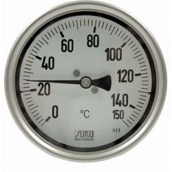Typ 32, Präzisions-Thermometer NG100, komplett Edelstahl, Anschluss hinten, fester Fühler