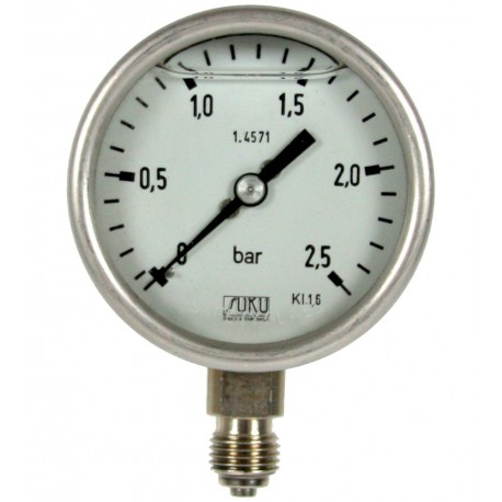 Type 6032, Bourdon tube pressure gauge with glycerine filling NS63, all stainless steel, connection bottom