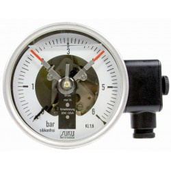 Typ 3812, Kontaktmanometer NG100, Chemieausführung, mit Füllung, Anschluss hinten