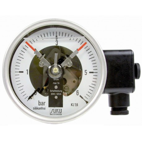 Type 3812 Contact pressure gauge NS100, all stainless steel, with oil filling, connection back