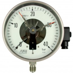 Type 4012 Contact pressure gauge NS160, all stainless steel, with oil filling, connection bottom
