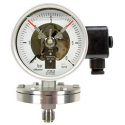 Type 4412, Contact pressure gauge NS100, chemical execution, with diaphragm, oil filling