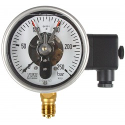Type 7911 Contact pressure gauge NS100 with oil filling, case stainless steel, connection bottom