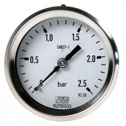 Type 4360 Bourdon tube pressure gauge NS63, case stainless steel, connection back, brass