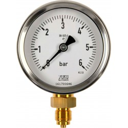 Type 4882 Bourdon tube pressure gauge NS80, case stainless steel, connection bottom