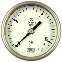 Type 6507, S3 Safety pressure gauge NS63, chemical execution, connection back