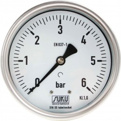 Type 6629 Bourdon tube pressure gauge NS100, all stainless steel, connection back