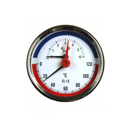 Type 4971, Combined pressure and temperature gauge NS80, connection back