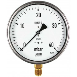 Type 5651, Capsule type pressure gauge NS160, connection bottom
