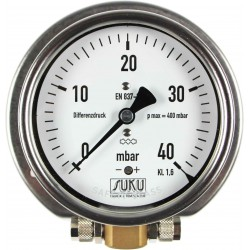 Type 5900 Differential pressure gauge with capsule element NS100 with connection for hose