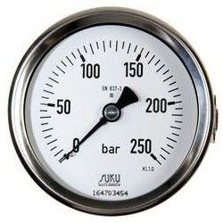 Type 4883 Bourdon tube pressure gauge NS80, case stainless steel, connection back