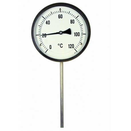 Type B15 Bimetal-Pointer-Thermometer, all stainless steel with crimped-on ring, connection bottom