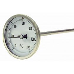 Typ B14, Bimetall-Zeiger-Thermometer, mit Bördelring, Anschluss hinten