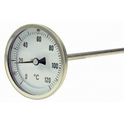 Type B14 Bimetal-Pointer-Thermometer, all stainless steel with crimped-on ring, connection back