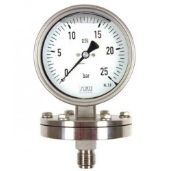 Type 7851, Pressure gauges with diaphragm NS160, case stainless steel, glycerine filling