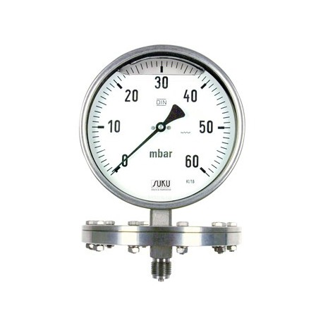 Type 7861, Pressure gauges with diaphragm NS160, case stainless steel, glycerine filling