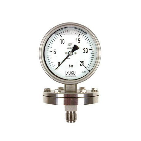 Type 6312, Pressure gauge with diaphragm NS100, all stainless steel, glycerine filling