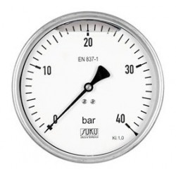 Type 7811, Bourdon tube pressure gauge with glycerine filling NS160, connection back