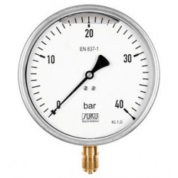 Type 7801, Bourdon tube pressure gauge with glycerine filling NS160, connection bottom