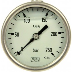 Type 6033, Bourdon tube pressure gauge with glycerine filling NS63, all stainless steel, connection back
