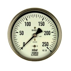 Type 6087, Capsule type pressure gauge NS100, all stainless steel, connection back
