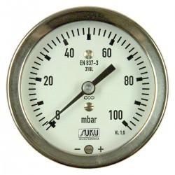 Typ 6081, Kapselfedermanometer NG63, Chemieausführung, Anschluss hinten