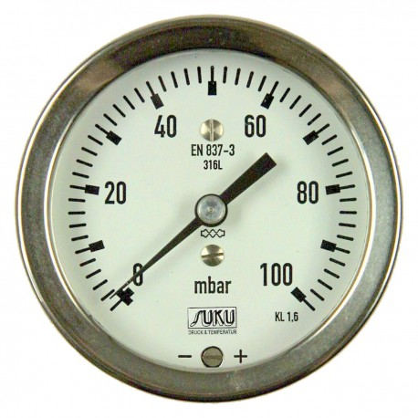 Type 6081, Capsule type pressure gauge NS63, all stainless steel, connection back