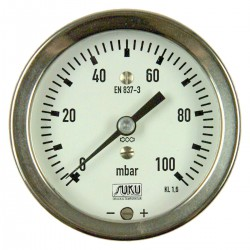 Type 5541, Capsule type pressure gauge NS63, connection back