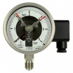 Type 3512, Contact pressure gauge NS100, chemical execution, connection bottom