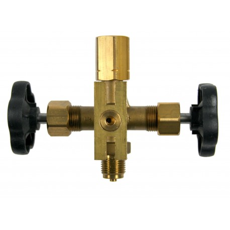 Type 81, Double shut-off valve Male x Union nut with test connection, DIN 16272
