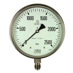 Type 6516, S3 Safety pressure gauge NS160, all stainless steel, connection bottom