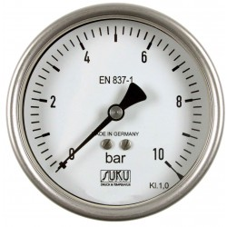 Type 6329, Bourdon tube pressure gauge NS100, chemical execution, fillable, connection back