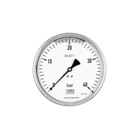 Type 6318, Bourdon tube pressure gauge NS160, chemical execution, fillable, connection back