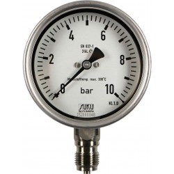 Type 6324, Bourdon tube pressure gauge NS100, all stainless steel, high-temperature up to 300°C