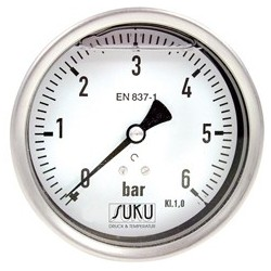 Type 7791, Bourdon tube pressure gauge with glycerine filling NS100, connection back