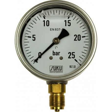 Type 7781, Bourdon tube pressure gauge with glycerine filling NS100, connection bottom