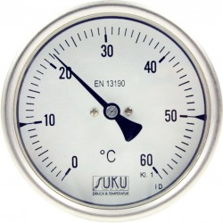 Type B11 Bimetal-Pointer-Thermometer, all stainless steel with bayonetring, connection back