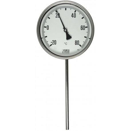 Typ 31, Präzisions-Thermometer NG100, komplett Edelstahl, Anschluss unten, fester Fühler