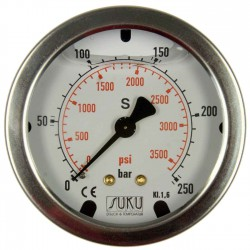 Type 4541, Bourdon tube pressure gauge with glycerine filling NS63, connection back