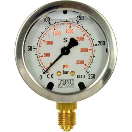 Type 4531, Bourdon tube pressure gauge with glycerine filling NS 63, connection bottom