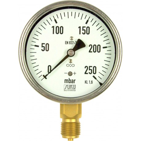 Type 5531, Capsule type pressure gauge NS63, connection bottom