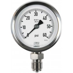 Type 6200 Bourdon tube pressure gauge NS80, all stainless steel, connection bottom