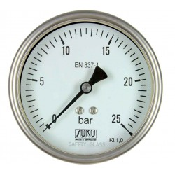Type 6328, Bourdon tube pressure gauge NS100, all stainless steel, high-temperature up to 300°C