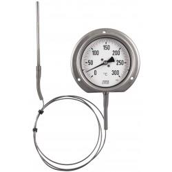 Typ 33, Präzisions-Thermometer NG100, komplett Edelstahl, Anschluss unten mit Fernleitung