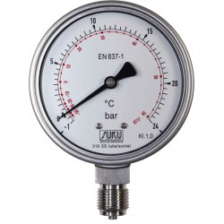 Type 6625 Bourdon tube pressure gauge NS100, with temperature scale NH3, all stainless steel