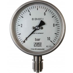 Type 6513, S3 Safety pressure gauge NS100, chemical execution, connection bottom