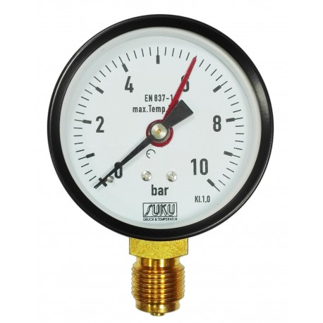 Type 4881, Bourdon tube pressure gauge NS80, case steel, connection bottom
