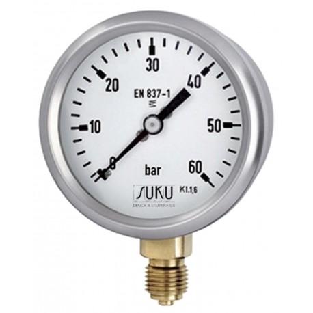 Type 4310 Bourdon tube pressure gauge NS63, case stainless steel, connection bottom, brass