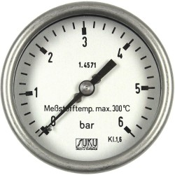 Type 6323 Bourdon tube pressure gauge NS63, all stainless steel, high-temperature up to 300°C